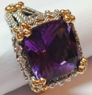 Square cushion-cut amethyst ring with diamonds and lotus flowers. Very rare.