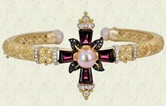 18K, rhodolite, and diamond Ethereal cross narrow cuff.