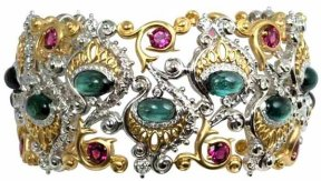 18K peacock cuff with green and pink tourmaline and diamonds.
