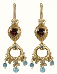 18K gypsy dangles with pear-shaped pink tourmaline and blue topaz beads.