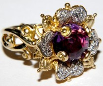 18K, amethyst, diamond Zen Garden ring. Very rare.
