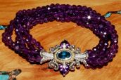 Amethyst bead bracelet with amethyst and London blue topaz clasp.