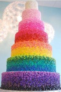 rainbowweddingcake via burnettsboards