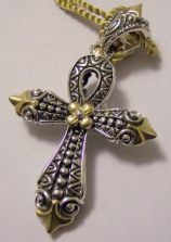 Very rare fleur-de-lis all-metal ankh cross.