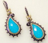 Turquoise doublet paisley earrings.