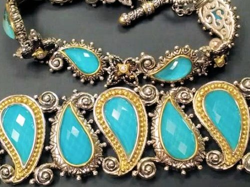 Two styles of bracelets from the turquoise doublet suite. Photo by G. LaRosa.