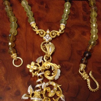 Grossular garnet necklace with initial B.