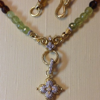 Grossular garnet necklace with diamond lotus flower.