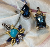 Blue gems in Barbara Bixby jewelry: Zen Garden enhancer (blue sapphire and turquoise; London blue topaz in Flower Dance ring and Queen's Muse enhancer.
