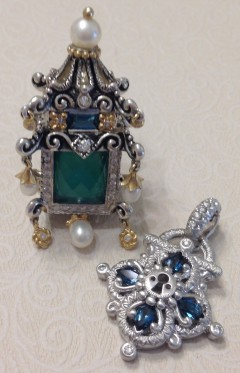 White gold lock with green pagoda