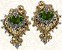 Peridot peacock earrings in 18K; rare coloration.