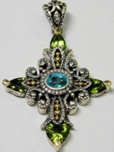 Blue topaz and peridot cross.
