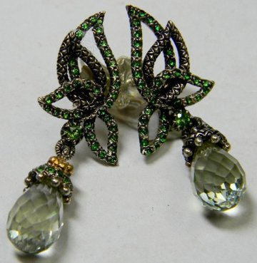 From the Paridiso collection, rare tsavorite/mint quartz earrings.