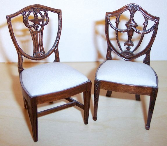 Elaborate Hepplewhite Shield Back Chairs By Lou Murter Feature Urns And  Garlands.