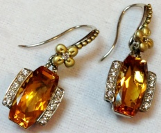 Cushion-cut citrine and diamond earrings.