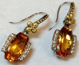 Cushion-cut citrine and diamond earrings.