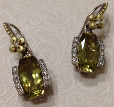 Cushion-cut olive quartz and diamond earrings