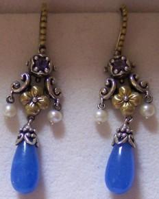 Blue jadeite, iolite, pearl earrings
