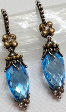 Blue topaz pointed briolette earrings.