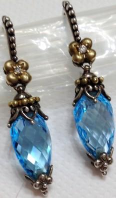 Blue topaz pointed briolette earrings.