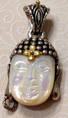 Carved MOP Buddha enhancer