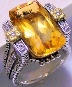 Citrine and diamond large cushion-shaped ring, sz 6.5
