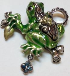 Enamel frog charm.