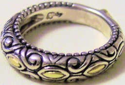Marquise-motif stack ring.