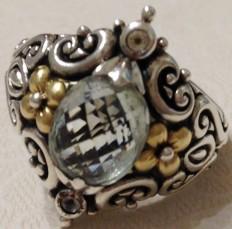Mint quartz pineapple-cut shield ring.