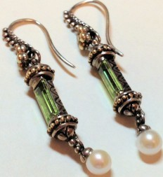Peridot baguette and white pearl earrings.