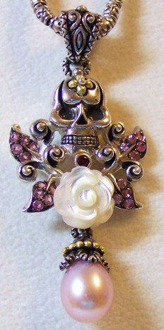 """Skulleta"" enhancer with carved mother of pearl rose, pink pearl, and pink garnet leaves."