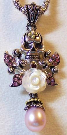 """Skulleta"" enhancer with carved mother of pearl rose, pink pearl, and pink garnet leaves."