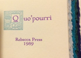 Quo'pourri. Letterpress printed in 2 colors, a collection of favorite quotes.