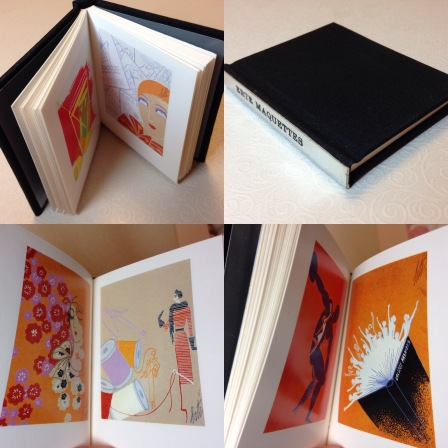 Erte Maquettes. Regular edition, bound in black silk with silver leather spine strip.