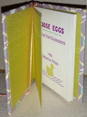Goose Eggs. Silk endpapers and diecut title page.