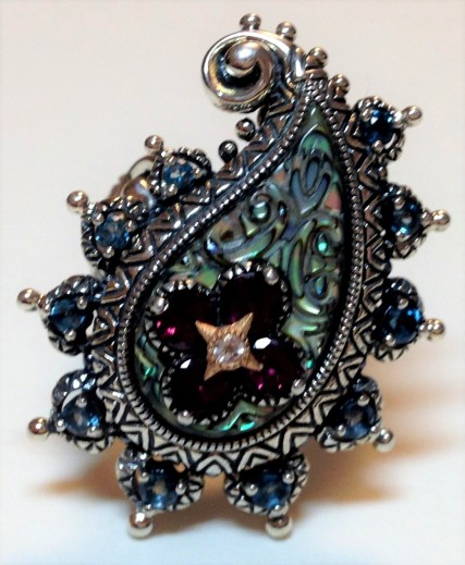 Multi-gem paisley ring with abalone, LBT, rhodolite. Size 9.