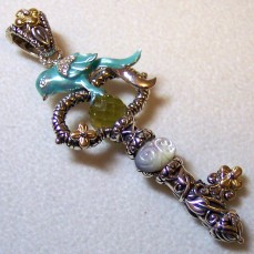 """Snow White"" key with enamel bluebird, imon quartz briolette, and carved MOP."