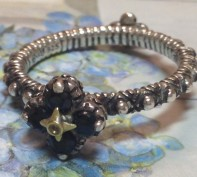 Black sapphire flower stack ring. Size 9.