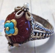 Carved carnelian and turquoise ring. Size 9.