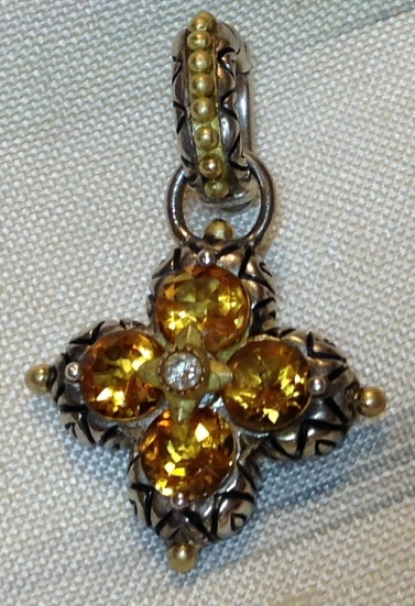 Citrine signature flower charm. Opening bail.