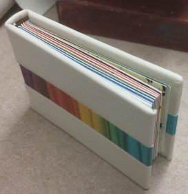 Front and top view, deluxe binding of Defining the Rainbow.