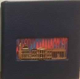 DC Portals Deluxe. Navy Leather, marbled paper, bronze cityscape.