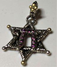 Q Star of David Charm, rhodolite.