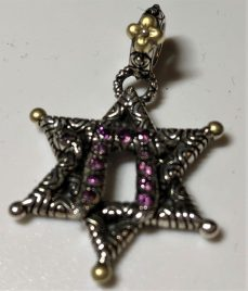 Q Star of David Charm, rhodolite.