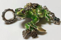 Q Enamel Frog Charm.