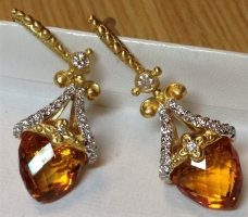 Couture 18K, Citrine, Diamond Briolette Earrings