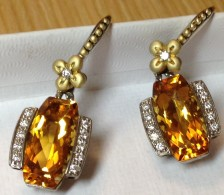 Couture Citrine and Diamond Cushion arrings