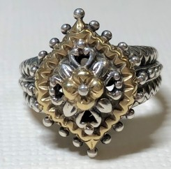 Vintage Q ring, SS/18K, size 10.